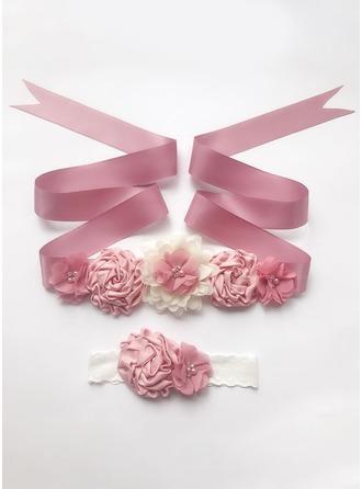 Schön Satin Schleifenbänder/Stoffgürtel mit Blume