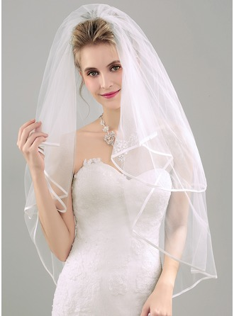 Two-tier Ribbon Edge Fingertip Bridal Veils With Ribbon