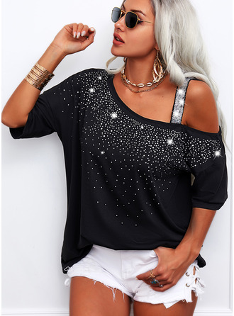 Sequins One Shoulder Short Sleeves Casual Blouses