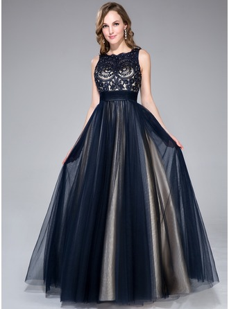 A-Line/Princess Scoop Neck Floor-Length Tulle Prom Dress With Beading Sequins Bow(s)