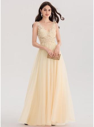 A-Line/Princess V-neck Floor-Length Tulle Prom Dresses