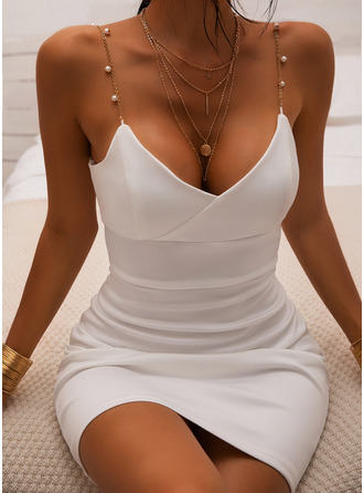 Solid Bodycon Sleeveless Mini Casual Sexy Type Dresses