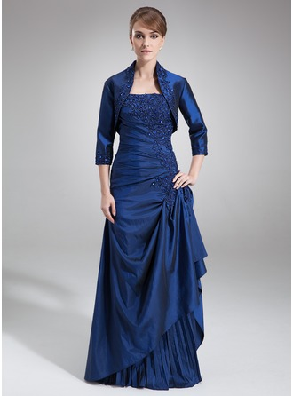 A-Line Strapless Floor-Length Taffeta Mother of the Bride Dress With Lace Beading Sequins Cascading Ruffles