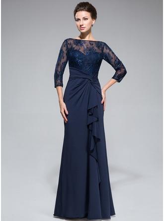 Empire-Linie U-Ausschnitt Bodenlang Spitze Jersey Kleid für die Brautmutter mit Perlstickerei Pailletten Schlitz Vorn Gestufte Rüschen
