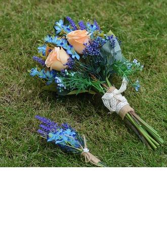 Hand Bundna Siden blomma Brud Buketter (sada 2) - Boutonniere För/Brud Buketter
