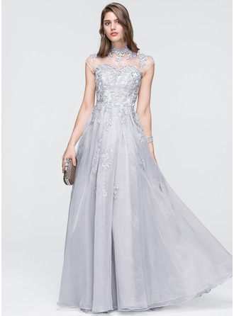 A-Line/Princess High Neck Floor-Length Organza Prom Dress