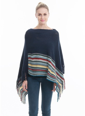 Striped/Tassel Oversized/attractive/fashion Artificial Wool Poncho