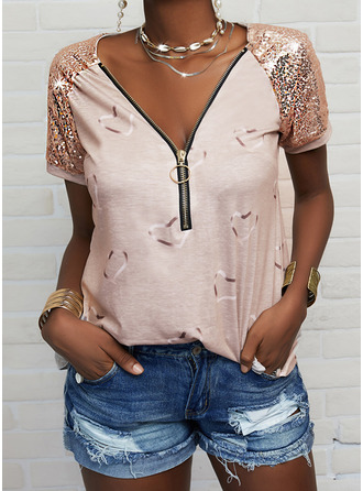 Print Sequins Heart V-Neck Short Sleeves Casual Blouses