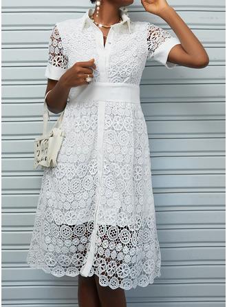 Blonder Solid A-line kjole Kortermer Midi Elegant skater Motekjoler