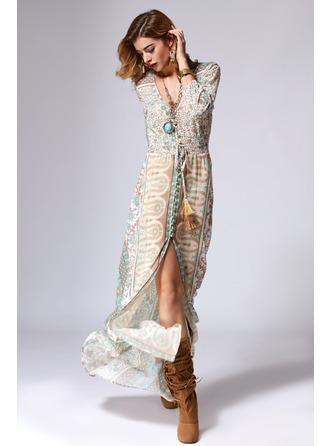 A-Line/Princess V-neck Floor-Length Polyester Cocktail Dress