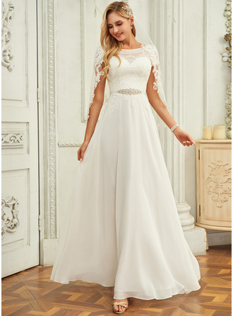 Scoop Neck Floor-Length Chiffon Lace Wedding Dress With Sequins