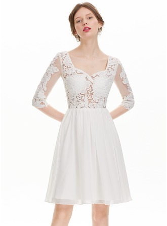 A-Line/Princess Sweetheart Knee-Length Chiffon Cocktail Dress