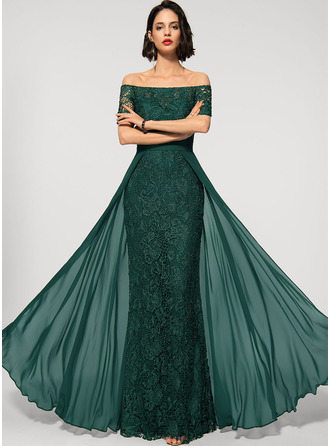 Sheath/Column Off-the-Shoulder Floor-Length Chiffon Lace Evening Dress