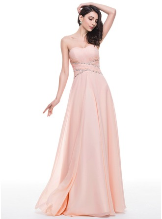 A-Line/Princess Sweetheart Floor-Length Chiffon Prom Dresses With Ruffle Beading Sequins