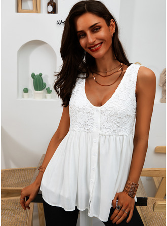 Lace Solid V-Neck Sleeveless Button Up Casual Tank Tops