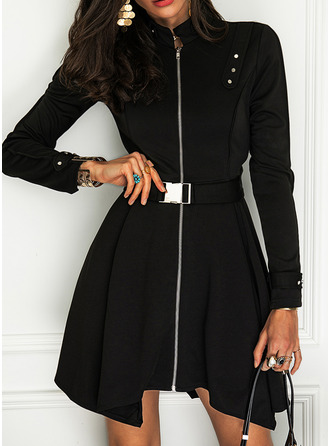 Solid Bir Çizgi Mâneci Lungi Mini Negre Zarif Patenci Moda Elbiseler