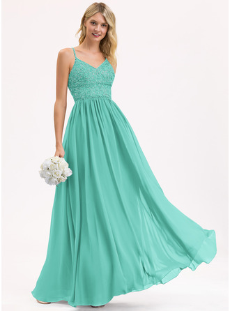 A-Line V-neck Floor-Length Chiffon Lace Prom Dresses With Beading Sequins