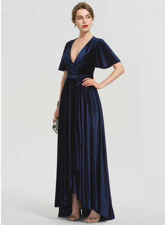 A-Line V-neck Asymmetrical Velvet Bridesmaid Dress With Bow(s)