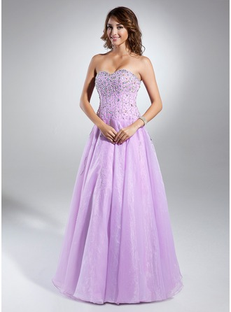 A-Line/Princess Sweetheart Floor-Length Organza Prom Dress With Beading