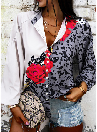 Leopard Floral Print V-Neck 3/4 Sleeves Button Up Casual Shirt Blouses (1003251257)
