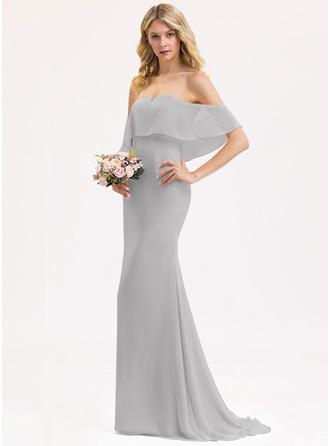 Раструб/Платье-русалка Выкл-в-плечо Sweep/Щетка поезд шифон Платье Подружки Невесты