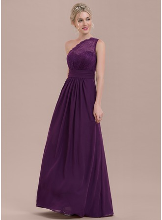 A-Line/Princess One-Shoulder Floor-Length Chiffon Lace Bridesmaid Dress With Ruffle