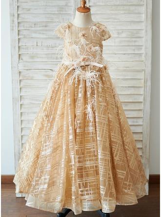 Robe Marquise/Princesse Longueur ras du sol Robes à Fleurs pour Filles - Tulle Manches courtes Col rond