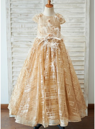Gala-Japon/Prinses Vloer lengte Bloemenmeisjesjurken - Tule Korte Mouwen Ronde Hals