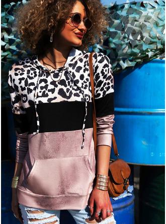 Leopard Color Block Print Hoodie Long Sleeves Casual Blouses