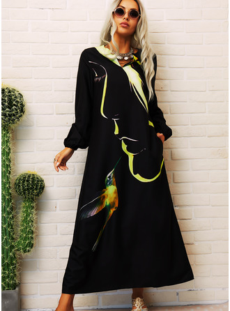 Animal Print Shift Long Sleeves Maxi Casual Dresses