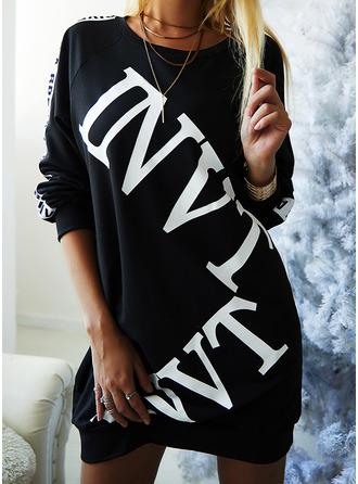 Druck Figurbetont Lange Ärmel Mini Lässige Kleidung Pullover Modekleider