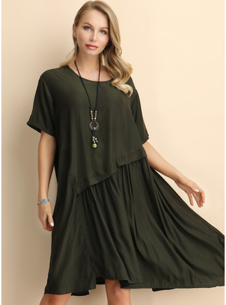 Solid Shift 1/2 Sleeves Midi Casual Dresses