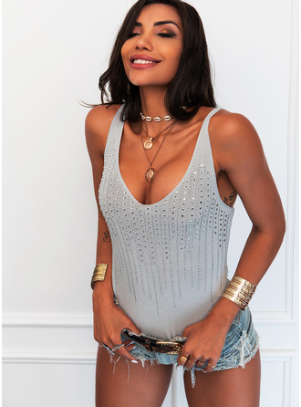 Sequins V-Neck Sleeveless Casual Tank Tops