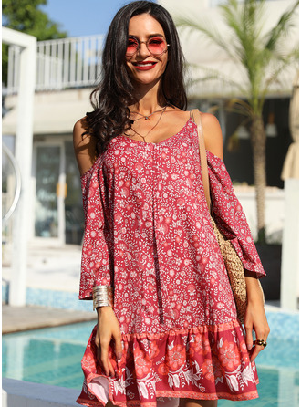 Floral Print Shift 3/4 Sleeves Cold Shoulder Sleeve Mini Boho Casual Vacation Dresses