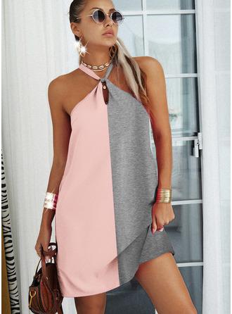Color Block Shift Sleeveless Midi Casual Dresses