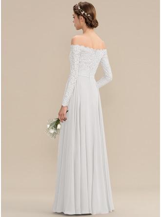 Corte A Off-the-ombro Longos Tecido de seda Renda Vestido de madrinha com Frente aberta