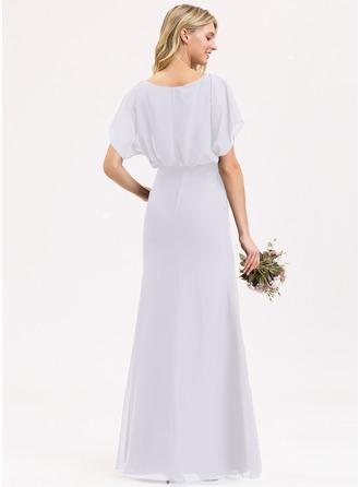 Tubo Decote redondo Longos Tecido de seda Vestido de madrinha com Pregueado Frente aberta