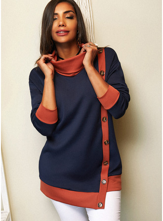 Color Block High Neck Long Sleeves Button Up Casual