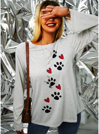 Animal Print Round Neck Long Sleeves
