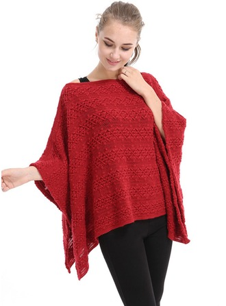 Couleur unie Énorme/simple Laine artificielle Poncho