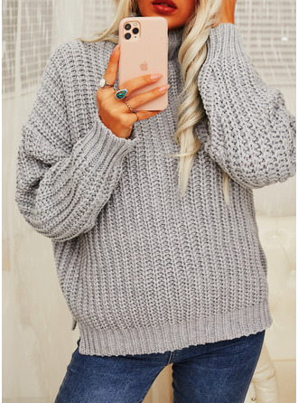 Turtleneck Casual Solid Chunky knit Sweaters