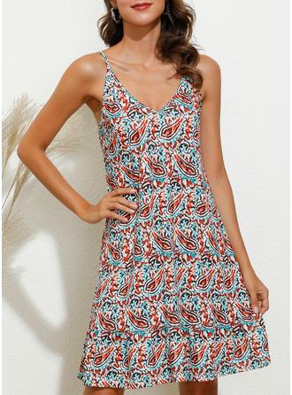 Imprimeu Shift Elbiseleri Kolsuz Mini gündelik Tatil Tip Moda Elbiseler