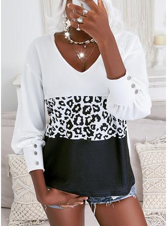 Leopard Color Block Print V-Neck Long Sleeves Elegant