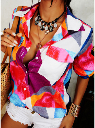 Color Block Lapel Long Sleeves Button Up Casual Shirt Blouses