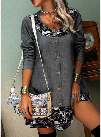 Floral Lace Print Shift Long Sleeves Mini Casual Tunic Dresses