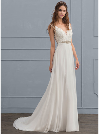 A-Line/Princess V-neck Court Train Chiffon Wedding Dress With Beading Sequins