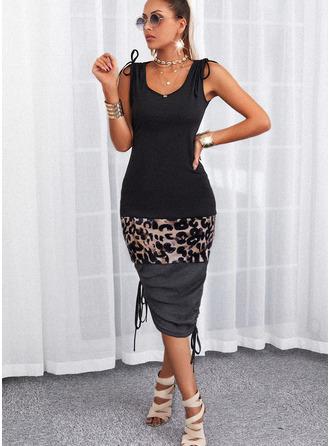 Leopard Color Block Sheath Sleeveless Midi Casual Dresses