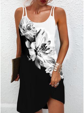 Color Block Floral Print Shift Sleeveless Mini Casual Type Dresses