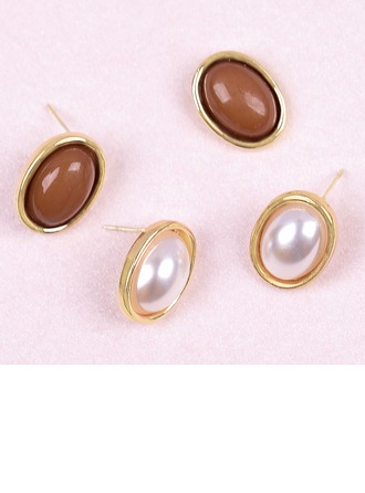 Stud Earrings Geometric Unique Pearl Sterling Silver Gold Plated Pearl Pierced Earrings