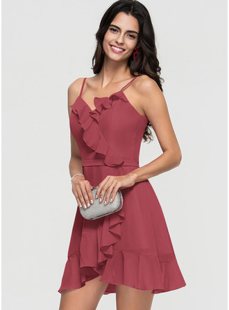 A-Line V-neck Short/Mini Chiffon Homecoming Dress With Cascading Ruffles